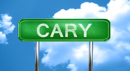 cary: cary city, green road sign on a blue background