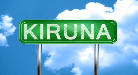 kiruna: Kiruna city, green road sign on a blue background