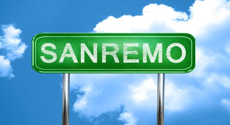 sanremo: Sanremo city, green road sign on a blue background