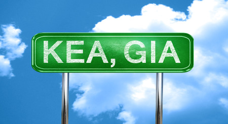 Kea, gia city, green road sign on a blue background Stock Photo
