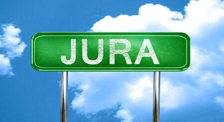 jura: Jura city, green road sign on a blue background