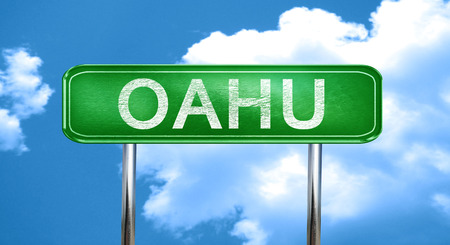 oahu: Oahu city, green road sign on a blue background