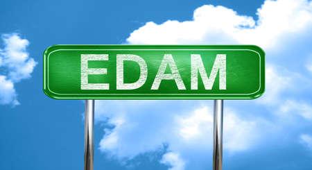 edam: Edam city, green road sign on a blue background Stock Photo