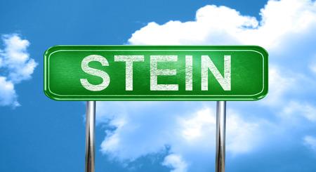 stein: Stein city, green road sign on a blue background