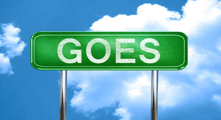 goes: Goes city, green road sign on a blue background Stock Photo