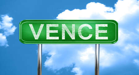 vence: vence city, green road sign on a blue background