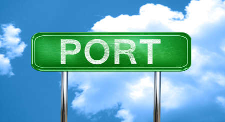 port: port city, green road sign on a blue background
