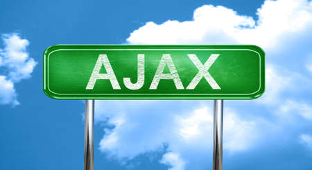 ajax: Ajax city, green road sign on a blue background Stock Photo