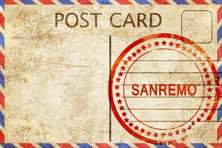 sanremo: Sanremo, a rubber stamp on a vintage postcard Stock Photo