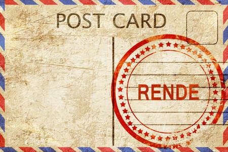 rende: Rende, a rubber stamp on a vintage postcard