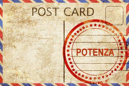 potenza: Potenza, a rubber stamp on a vintage postcard