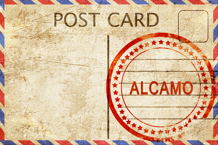 Alcamo, a rubber stamp on a vintage postcard Stock Photo