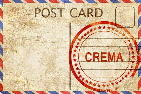 crema: Crema, a rubber stamp on a vintage postcard