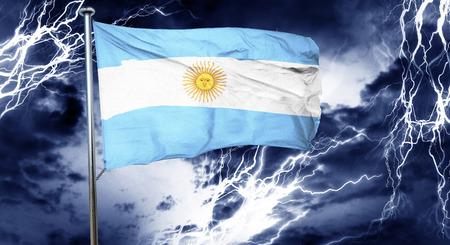 bandera argentina: Argentina flag, 3D rendering, crisis concept storm cloud