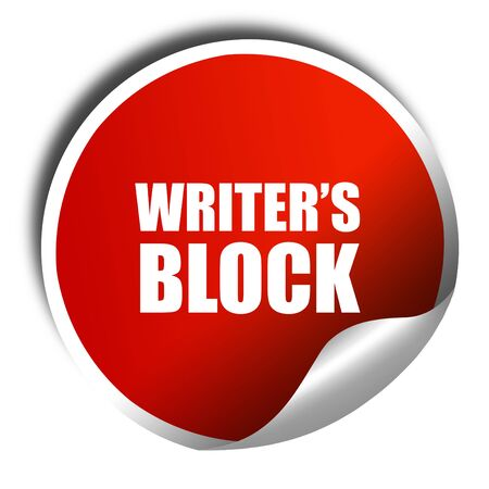 writer's block: writers block, 3D rendering, red sticker with white text