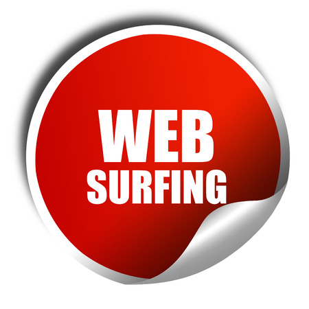 web surfing: web surfing, 3D rendering, red sticker with white text Stock Photo