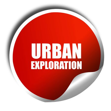 3 D レンダリング、白い文字が赤いステッカー都市探査