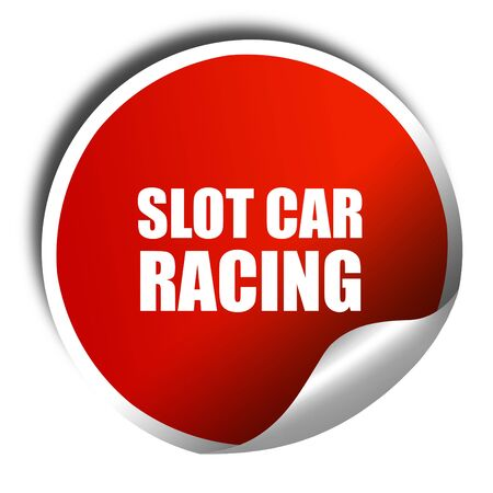 slot car track: slot car racing, 3D rendering, red sticker with white text Stock Photo