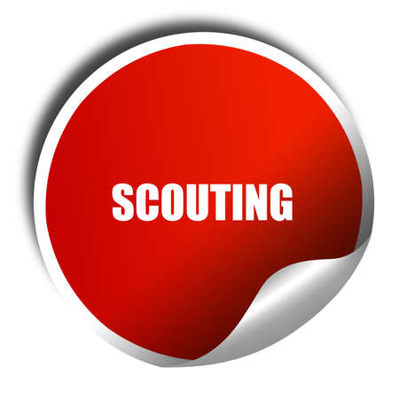 scouting: scouting, 3D rendering, red sticker with white text