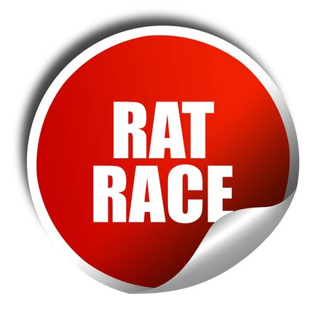 downshift: rat race, 3D rendering, red sticker with white text Stock Photo
