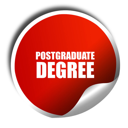 postgraduate: postgraduate degree, 3D rendering, red sticker with white text
