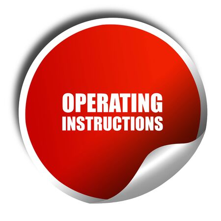 instrucciones: operating instructions, 3D rendering, red sticker with white text