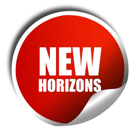 new horizons: new horizons, 3D rendering, red sticker with white text