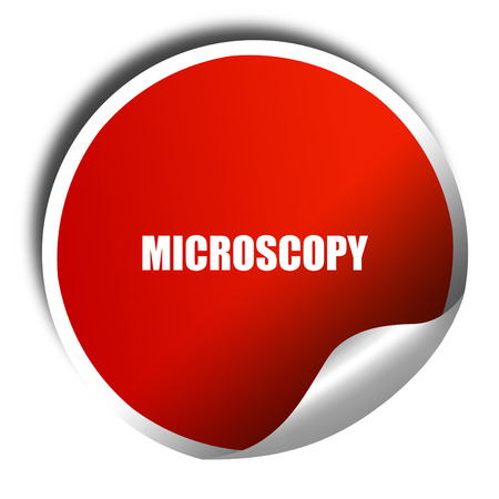 histology: microscopy, 3D rendering, red sticker with white text