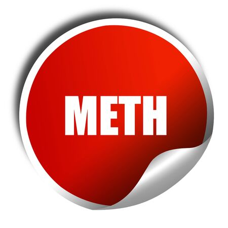 meth: meth, 3D rendering, red sticker with white text