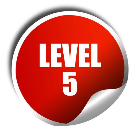 xp: level 5, 3D rendering, red sticker with white text