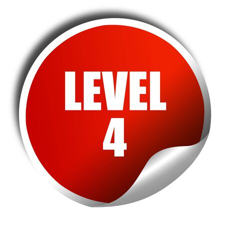 xp: level 4, 3D rendering, red sticker with white text Stock Photo