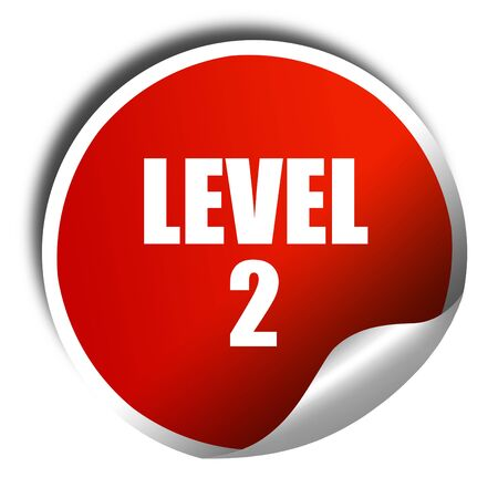 xp: level 2, 3D rendering, red sticker with white text Stock Photo