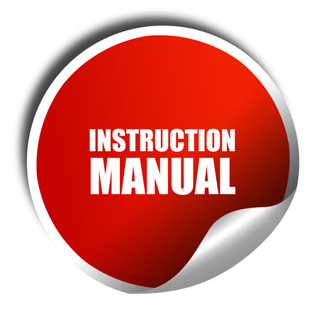 instruction manual: instruction manual, 3D rendering, red sticker with white text