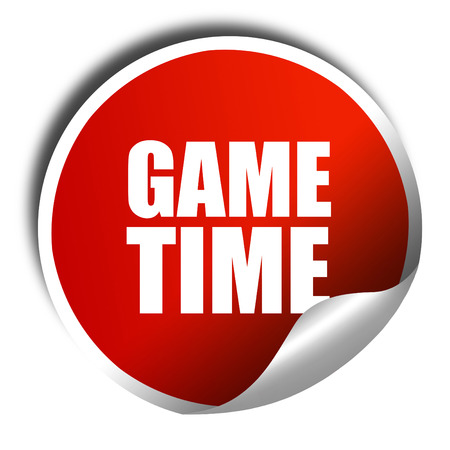 game time: game time, 3D rendering, red sticker with white text