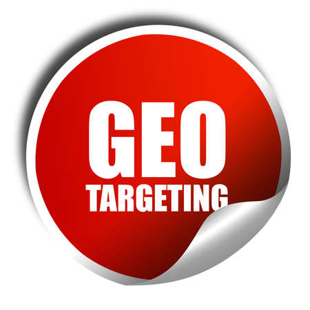 targeting: geo targeting, 3D rendering, red sticker with white text Stock Photo