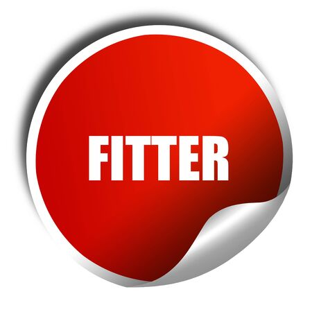 fitter: fitter, 3D rendering, red sticker with white text