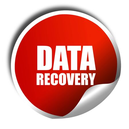 data recovery: data recovery, 3D rendering, red sticker with white text