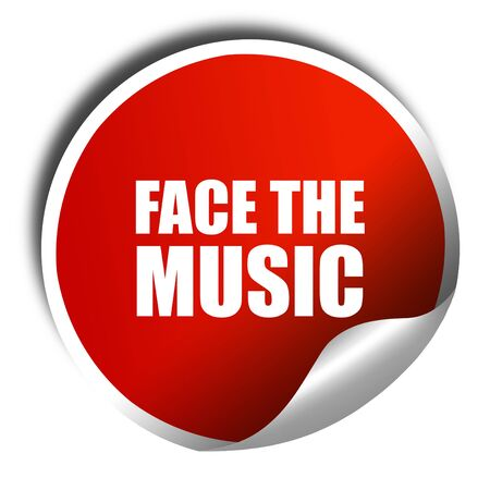 music 3d: face the music, 3D rendering, red sticker with white text