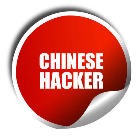 web scam: chinese hacker, 3D rendering, red sticker with white text