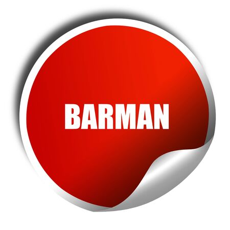 barman: barman, 3D rendering, red sticker with white text Stock Photo