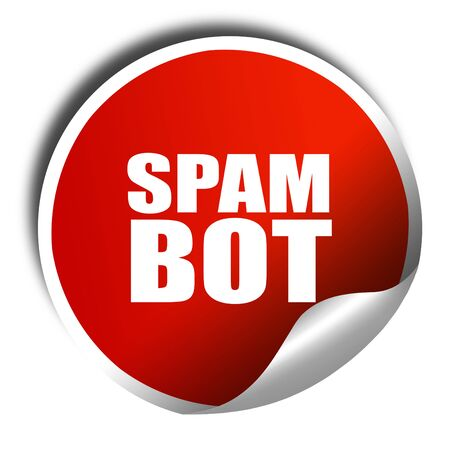 bot: spam bot, 3D rendering, red sticker with white text Stock Photo