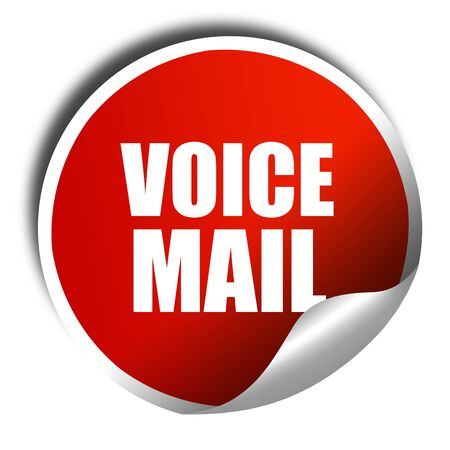 voicemail: voice mail, 3D rendering, red sticker with white text