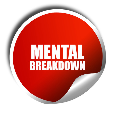 the psyche: colapso mental, 3D, etiqueta roja con texto blanco