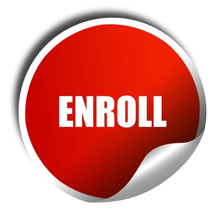 enroll: enroll, 3D rendering, red sticker with white text Stock Photo