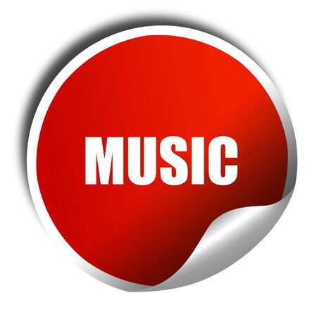 music 3d: music, 3D rendering, red sticker with white text