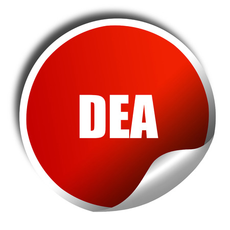 dea, 3D rendering, red sticker with white text