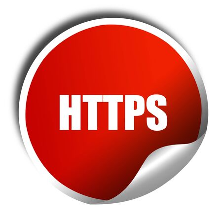 https: https, 3D rendering, red sticker with white text