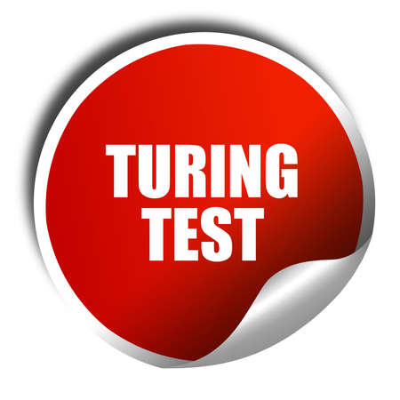 thinking machines: turing test, 3D rendering, red sticker with white text Stock Photo