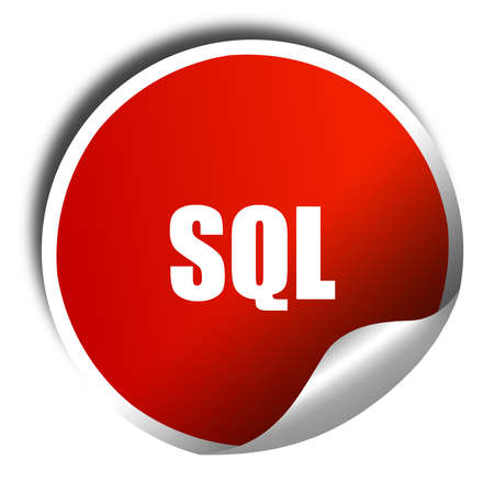 sql: sql, 3D rendering, red sticker with white text Stock Photo