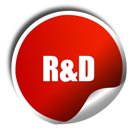 rd: r&d, 3D rendering, red sticker with white text
